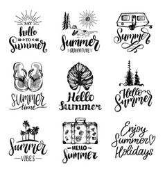 hand lettering with summer motivational phrases vector image