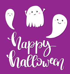 happy halloween text banner on violet background vector image