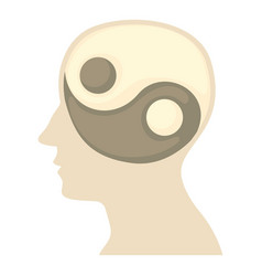 Head with yin yang symbol icon cartoon style vector