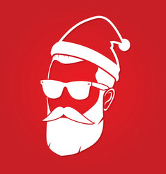 hipster santa claus icon vector image