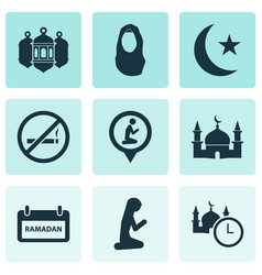 Holiday icons set with worship muslim female do vector