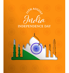 India independence day paper cut taj mahal card vector