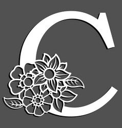 Letter silhouette with flowers letter c vector
