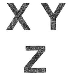 Line art font set - letters X Y Z vector