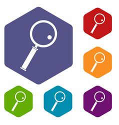 loupe icons set hexagon vector image