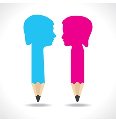 Male and female face make a pencil vector