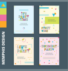 Memphis style cards 1 vector