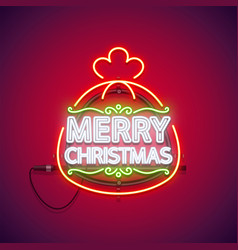 merry christmas neon sign in gift bag vector image