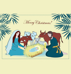 Nativity scene with saint family and animals vector