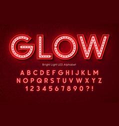 Neon light 3d alphabet extra glowing modern font vector