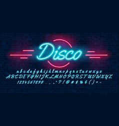 neon light blue font hand drawin english alphabet vector image