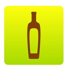Olive oil bottle sign brown icon at green vector