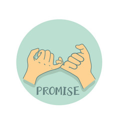 Pinky promise on green background vector