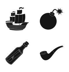 Pirate bandit ship sail pirates set collection vector