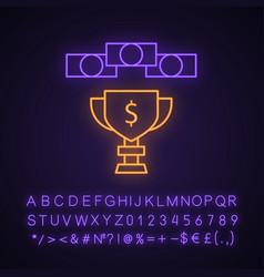 Prize money neon light icon vector