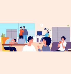 procrastination concept lazy office people vector image