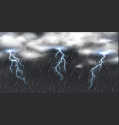 Realistic storm heavy clouds thunder and shower vector