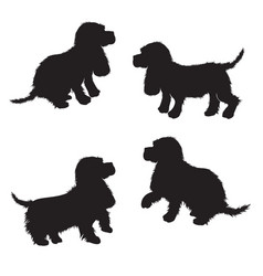 Set of black dogs silhouette isolated on white vector