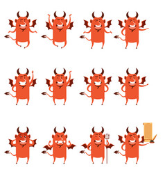 set of devil flat icons vector image