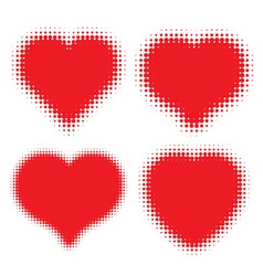Set of red hearts halftone logo vector