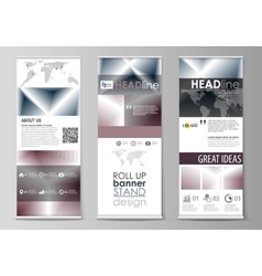 Set of roll up banner stands flat design vector image vector image