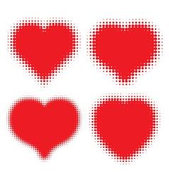set red hearts halftone logo vector image