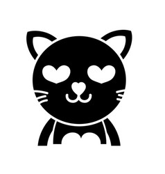 Silhouette enamored cat adorable feline animal vector