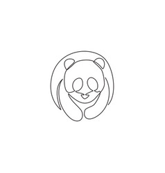 single continuous line drawing funny panda for vector image