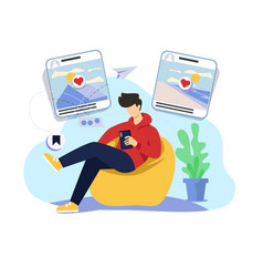 social media browsing concept vector image