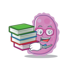 Student with book bacteria mascot cartoon style vector