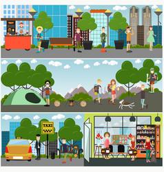 tourist concept poster banner set vector image