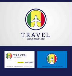 Travel senegal creative circle flag logo and vector
