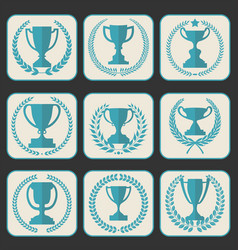 Trophy and awards retro vintage collection 8 vector