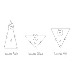 types of isosceles triangle vector image