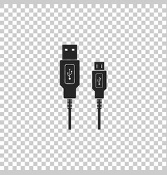 Usb micro cables icon on transparent background vector