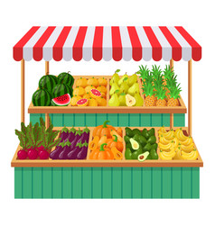 vegetables supermarket stall fruits vegetables vector image