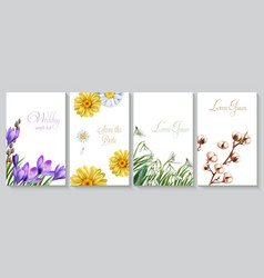 Vertical wedding invitation card set with crocus vector