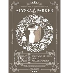 Wedding invitation with wreath compositionWear vector image