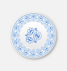 White plate with russian ornament in gzhel style vector image