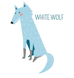 White wolf rare species childish cartoon character vector