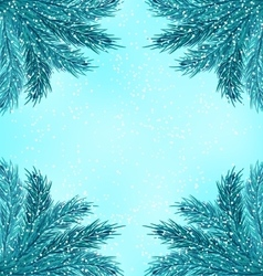 Winter Nature Background with Fir Branches and vector