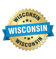 Wisconsin round golden badge with blue ribbon vector