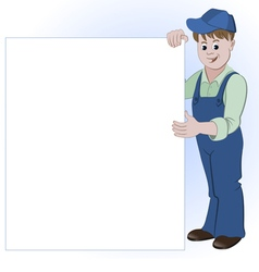 Workman or handyman standing with list of space vector