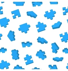 Blue Jigsaw pieces in different positions on white vector image vector image