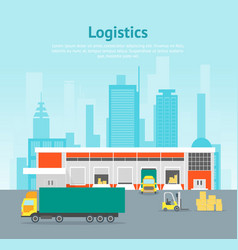 cartoon warehouse distribution logistics card vector image