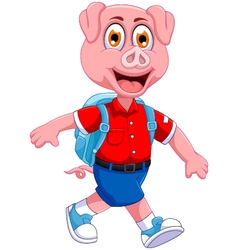 funny pig cartoon going to picnic vector image