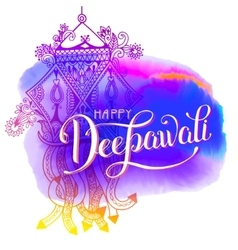 Happy Deepawali watercolor greeting card to indian vector image
