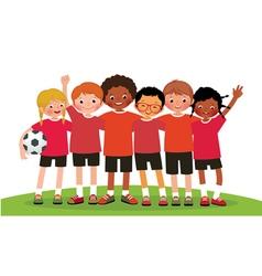 International group kids soccer team vector image