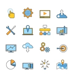 Set of responsive web development line icons Flat vector image