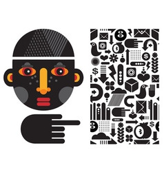 Stylized Face and icons vector image